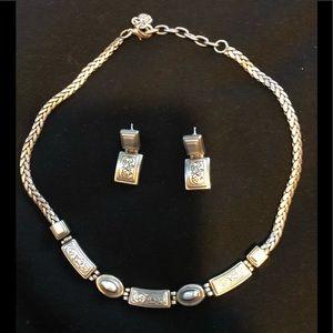 Brighton silver herring bone necklace earrings set
